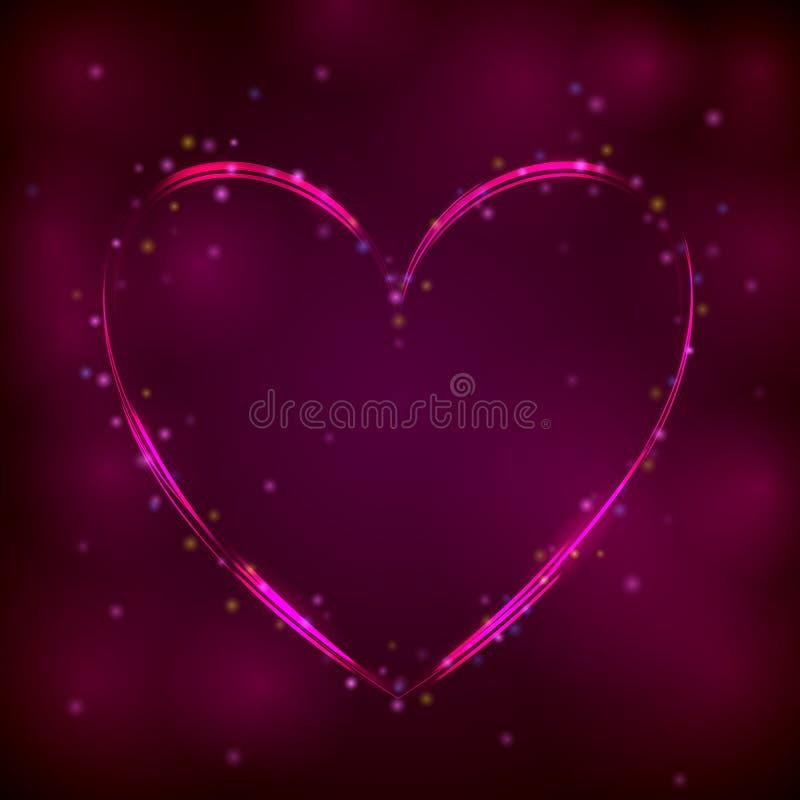 Neonowy różowy serce na ciemnym tle ilustracja wektor