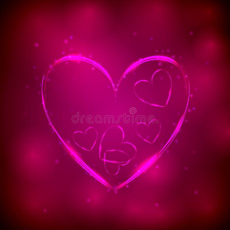 Neonowy różowy serce na ciemnym tle royalty ilustracja