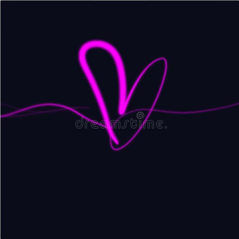 Neonowy rozjarzony jaskrawy różowy serce znak, odosobniony clipart ilustracja wektor