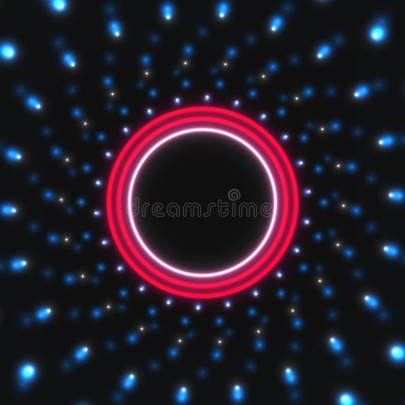 Neonowy, rozjarzony okrąg na abstrakcjonistycznym tle, royalty ilustracja