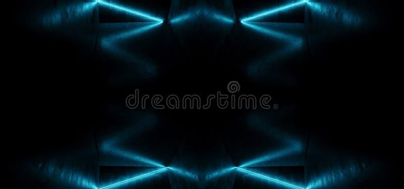 Neonowy Rozjarzony tło tana klubu Laserowy przedstawienie Prowadził Błękitnego Wibrującego Retro Futurystycznego Nowożytnego Sci  ilustracji