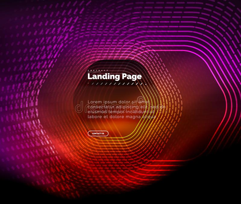 Neonowy rozjarzony techno sześciokąta kształt wykłada, techniki futurystyczny abstrakcjonistyczny tło, ląduje strona szablon royalty ilustracja