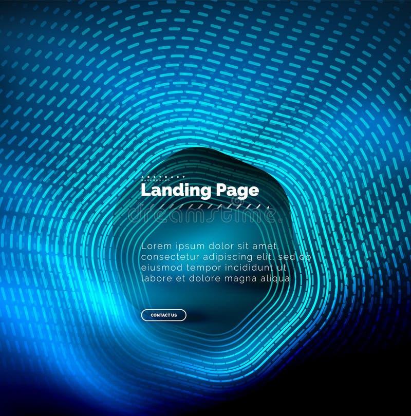 Neonowy rozjarzony techno sześciokąta kształt wykłada, techniki futurystyczny abstrakcjonistyczny tło, ląduje strona szablon ilustracja wektor