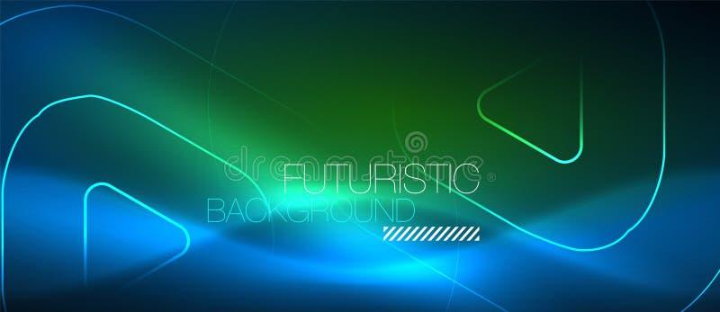 Neonowy rozjarzony techno wykłada, techniki tła futurystyczny abstrakcjonistyczny szablon z geometrycznymi kształtami ilustracja wektor