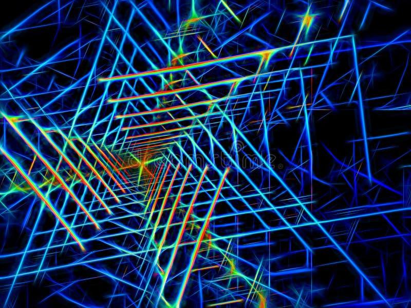 Neonowy rozjarzony tunel - abstrakt cyfrowo wytwarzał wizerunek royalty ilustracja