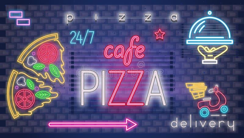 Neonowy Rozjarzony znak dla pizzeria ilustracji
