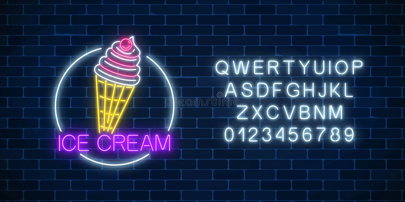 Neonowy rozjarzony znak lody z glazerunkiem w okrąg ramie z abecadłem Lody w gofra rożku ilustracji