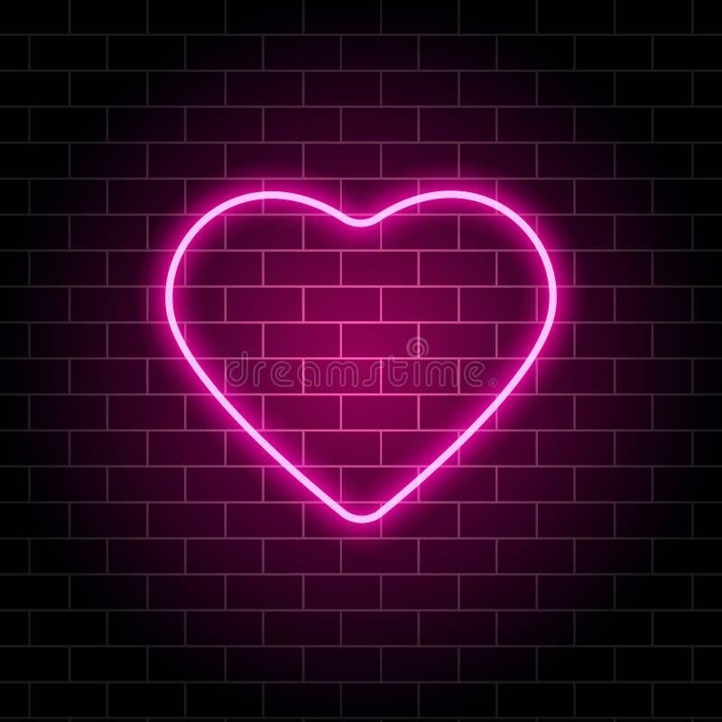 Neonowy serce Jaskrawej nocy neonowy signboard na ściany z cegieł tle z backlight Retro różowy neonowy serce znak Projekta elemen royalty ilustracja