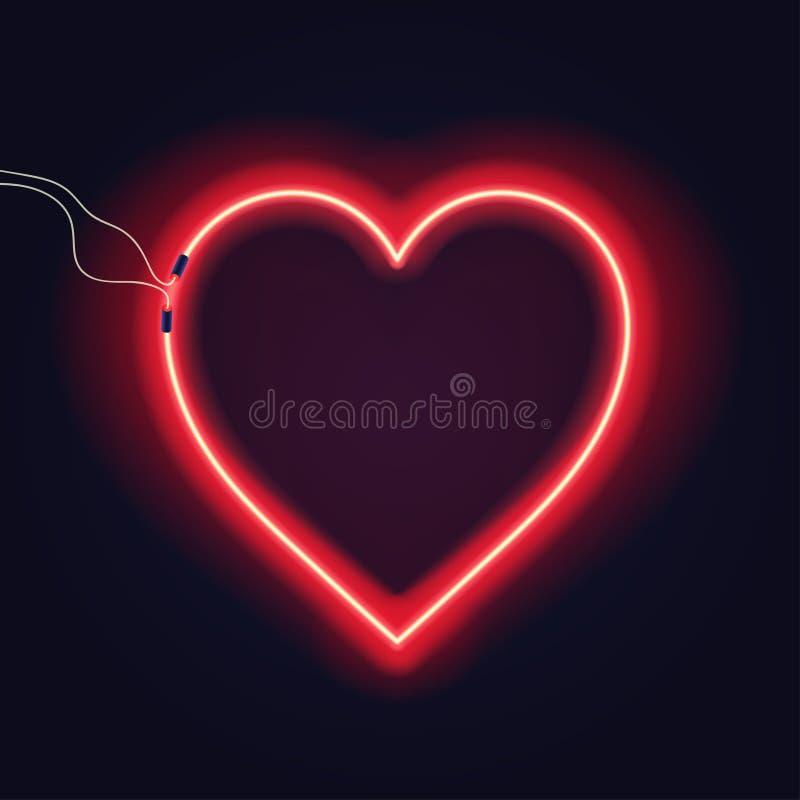 Neonowy serce znak z drutami na ciemnym tle Jaskrawy neonowy jarzeniowy skutek ilustracja wektor