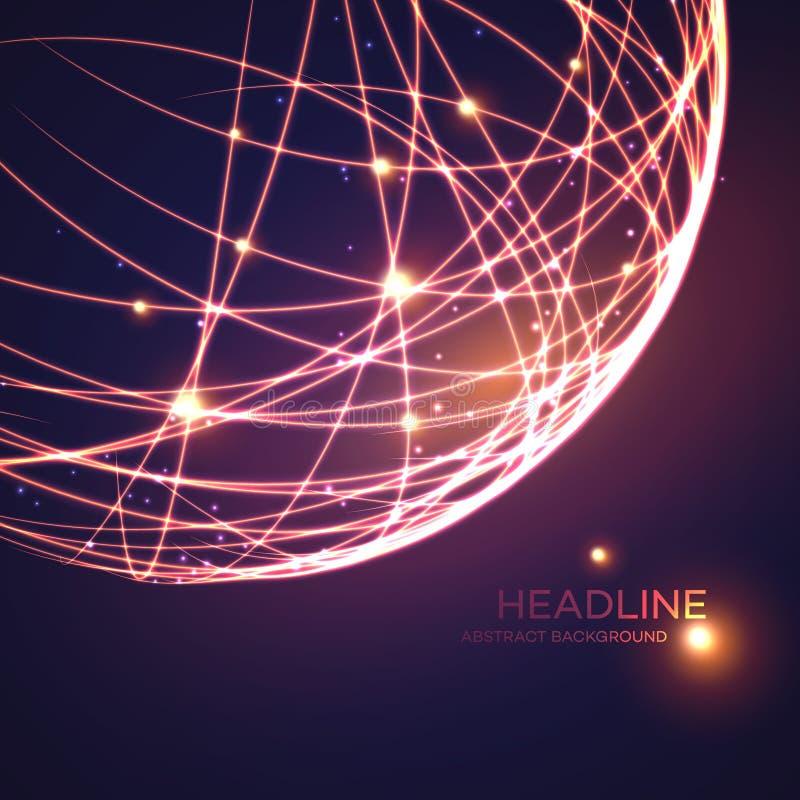 Neonowy siatki kuli ziemskiej tło również zwrócić corel ilustracji wektora ilustracja wektor