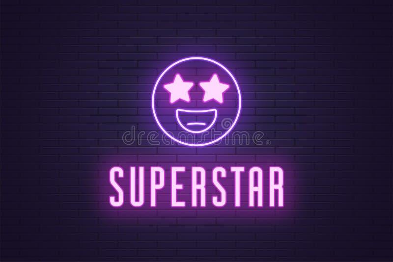 Neonowy sk?ad rozjarzony emoji megagwiazda gwiazda ilustracji