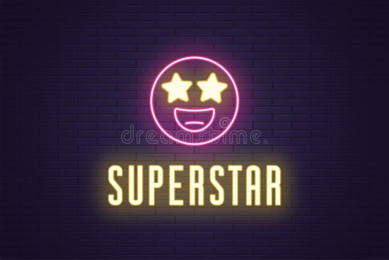 Neonowy sk?ad rozjarzony emoji megagwiazda gwiazda royalty ilustracja