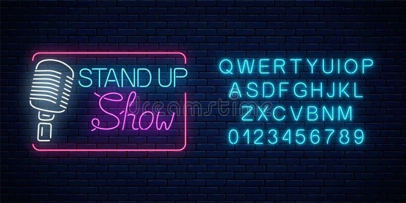 Neonowy stoi w górę przedstawienie znaka z retro mikrofonem Komedii batalistyczny rozjarzony signboard z abecadłem ilustracja wektor