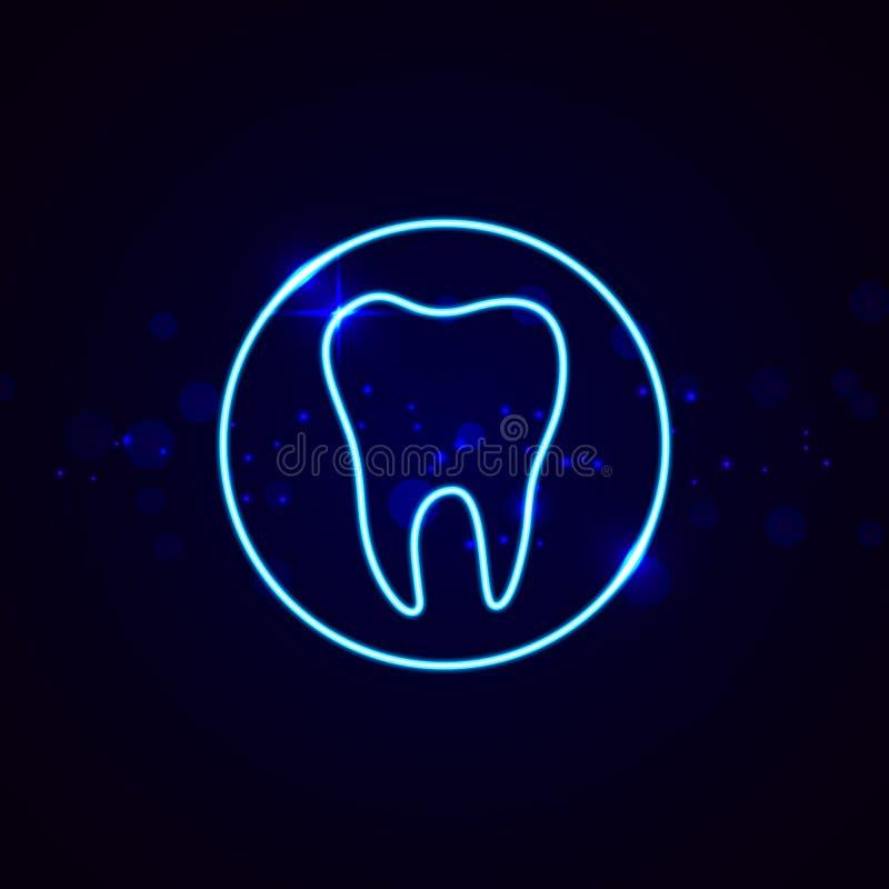Neonowy stomatologiczny znak Olśniewający zębu wektoru emblemat royalty ilustracja