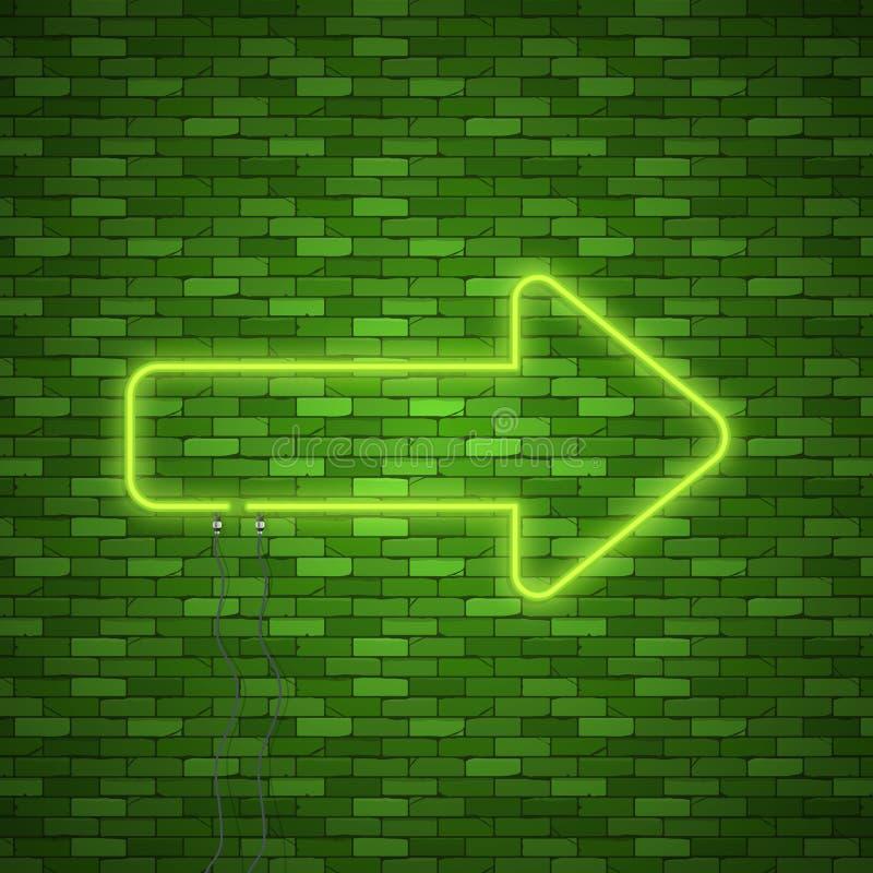 Download Neonowy strzała znak ilustracja wektor. Ilustracja złożonej z dobro - 106921011