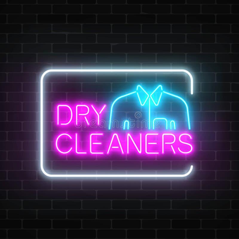 Neonowy suchych czyścicieli rozjarzony znak z koszula w prostokąt ramie na ciemnym ściana z cegieł tle royalty ilustracja
