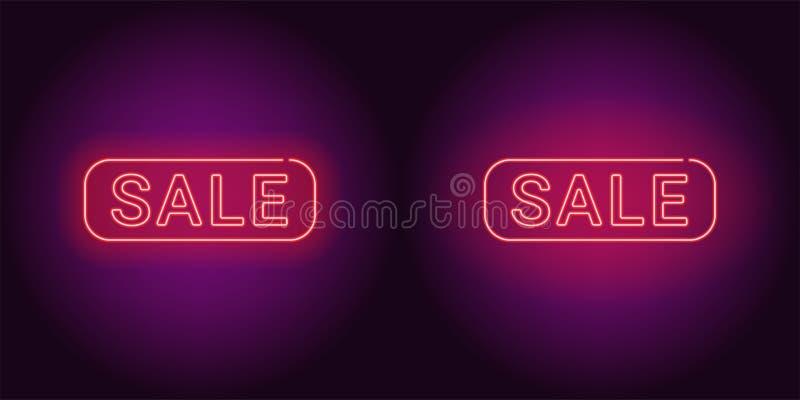Neonowy sztandar czerwona sprzedaży odznaka ilustracja wektor