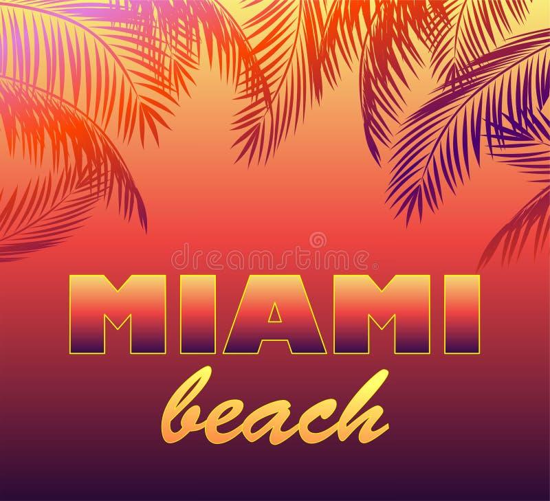 Neonowy tło z Miami plaży palmą i literowaniem opuszcza sylwetki dla t koszula, noc partyjnego plakata i inny, projekt ilustracji