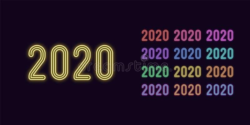 Neonowy tekst 2020, rok liczba Rozjarzony daty 2020 set ilustracja wektor