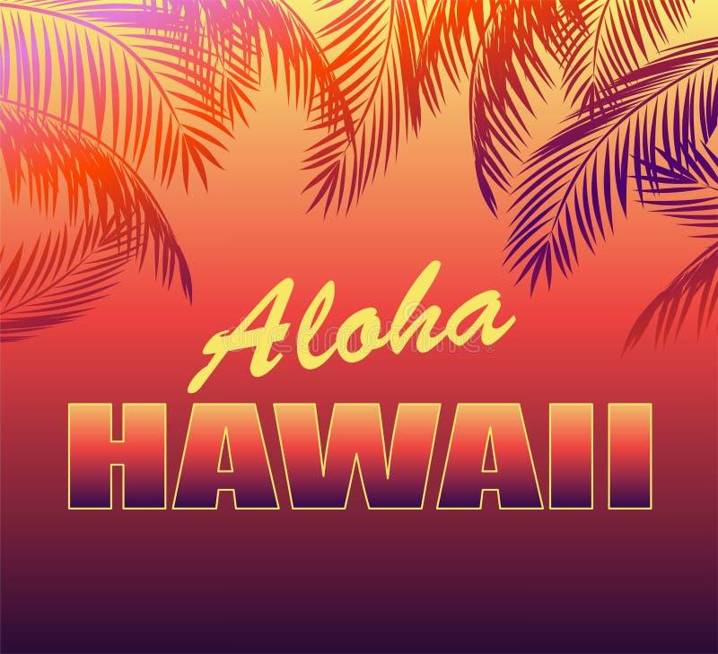Neonowy tropikalny tło z Hawaje palmą i literowaniem Aloha opuszcza sylwetki dla t koszula, noc partyjnego plakata i inny, projek royalty ilustracja