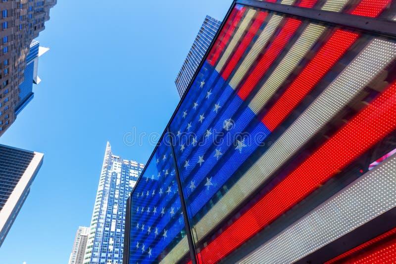 Neonowy USA flaga kwadrat czasami, NYC zdjęcie royalty free