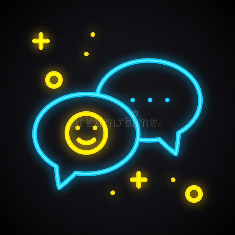 Neonowy wiadomość znak Jaskrawy mowa bąbel z uśmiechem r royalty ilustracja