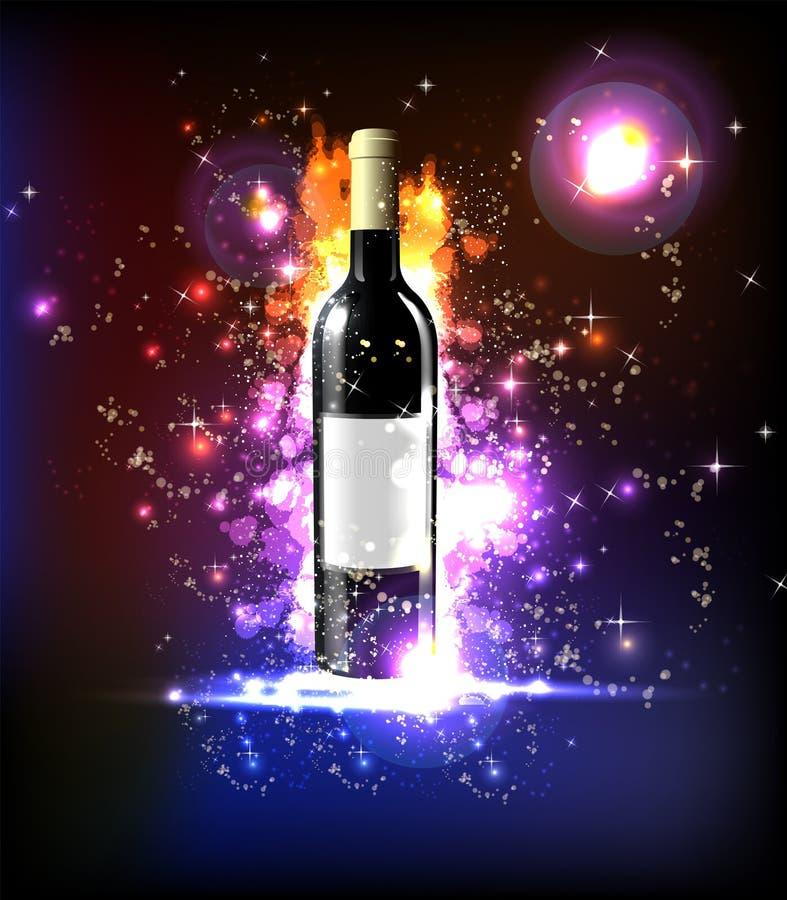 neonowy wino ilustracja wektor