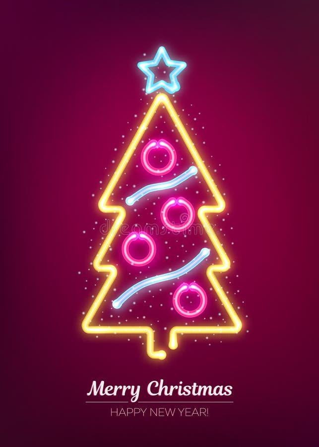 Neonowy Xmas i szczęśliwy nowego roku signboard Wektorowa ilustracja z rozjarzoną choinką ilustracji