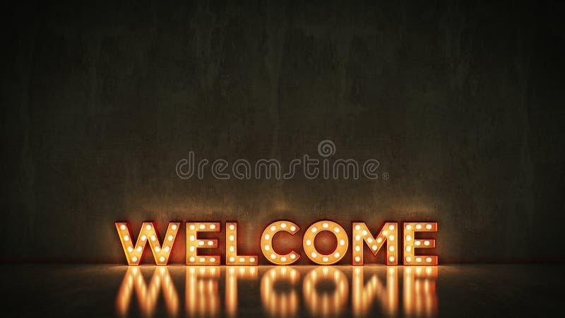 Neonowy znak na ściany z cegieł tle - powitanie świadczenia 3 d ilustracji