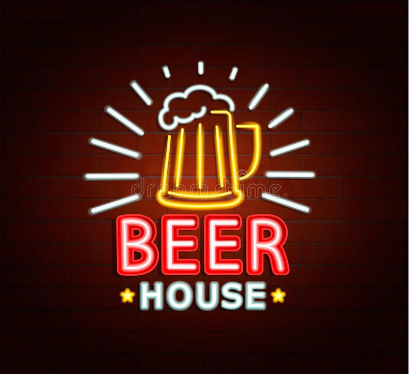 Neonowy znak piwo dom obraz royalty free