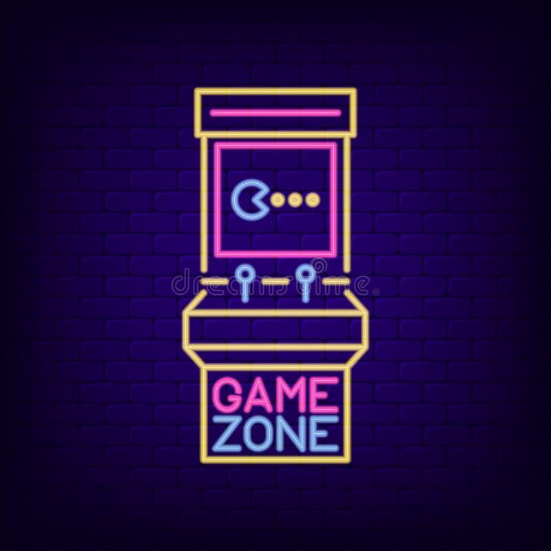 Neonowy znak retro automat do gier Gemowy strefy signboard z nocy światła arkady gemową maszyną Hazard reklamuje neonowego sztand royalty ilustracja