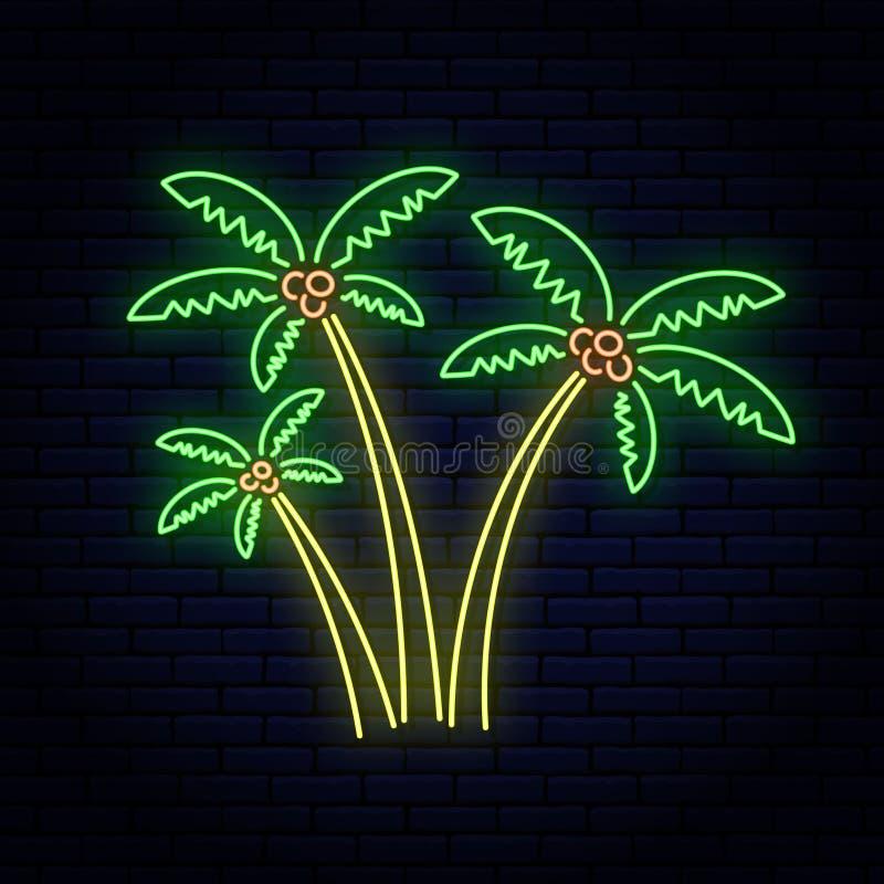 Neonowy znak, trzy drzewka palmowego różny rozmiar przeciw ścianie z cegieł royalty ilustracja