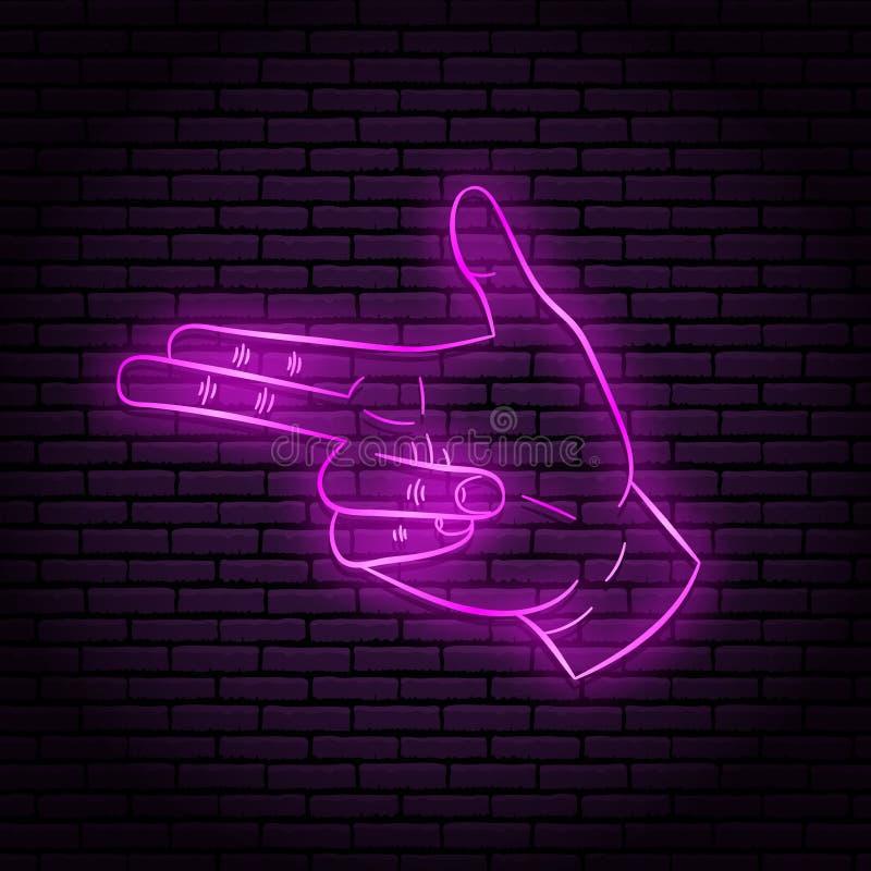 Neonowy znak z purpurową łuną Ręka gest, dwa palca, pokazuje pistolet royalty ilustracja