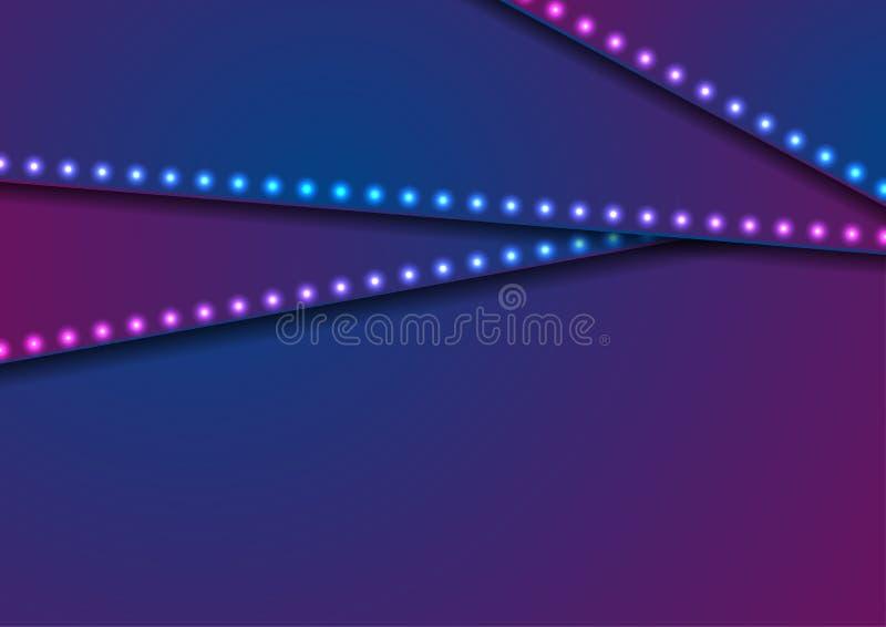 Neonowych dowodzonych świateł błękitny fiołkowy abstrakcjonistyczny korporacyjny tło royalty ilustracja