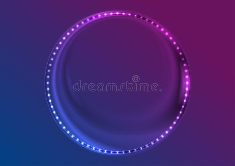 Neonowych dowodzonych świateł okręgu ramy abstrakcjonistyczny tło ilustracja wektor