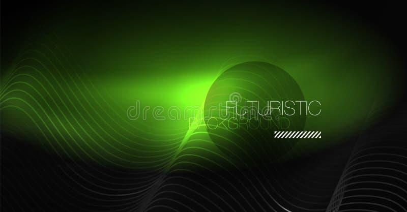 Neonowych linii falowy tło Abstrakcjonistyczny skład royalty ilustracja