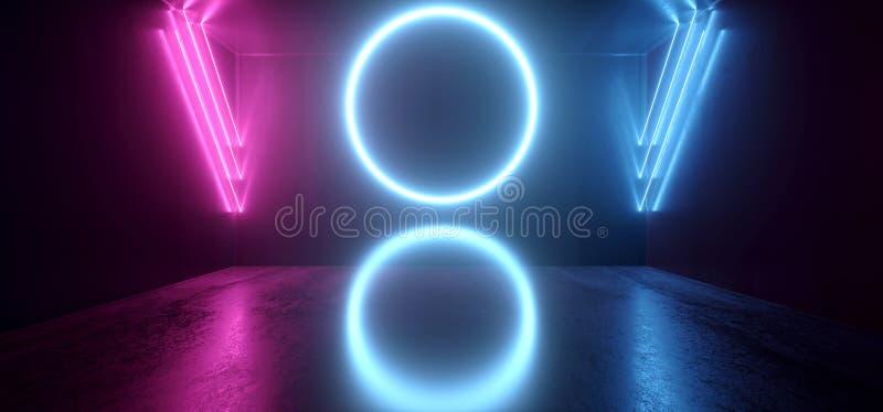 Neonowych Rozjarzonych okręgu Cyber Fluorescencyjnej tubki Retro Wirtualnych Purpurowych Błękitnych Świecących świateł Grunge Abs royalty ilustracja