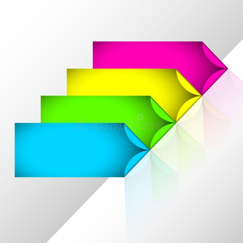 Neonpilklistermärkear stock illustrationer