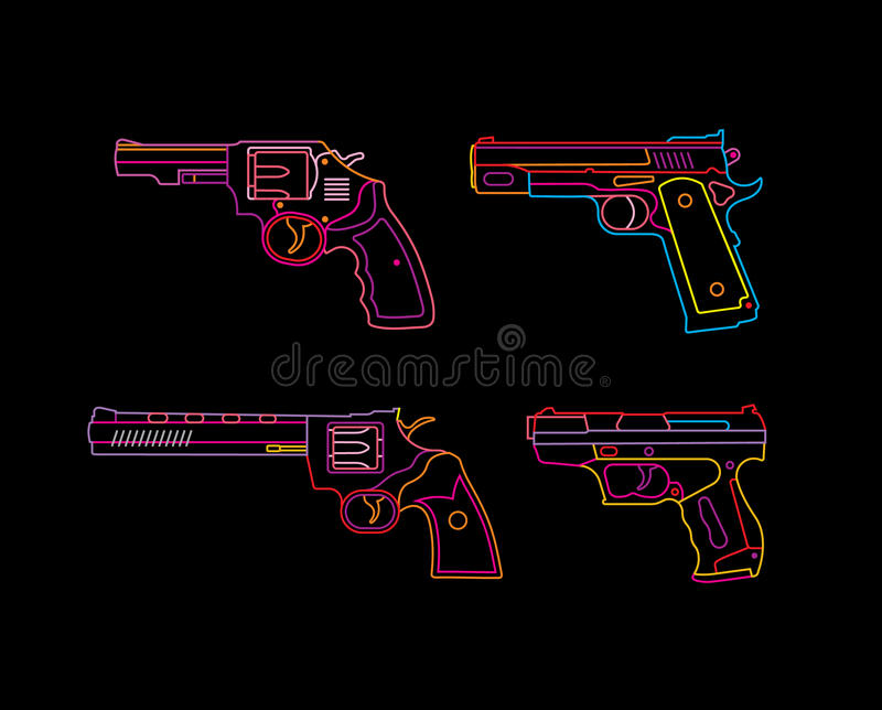 Neonpistolenzeichen lizenzfreie abbildung
