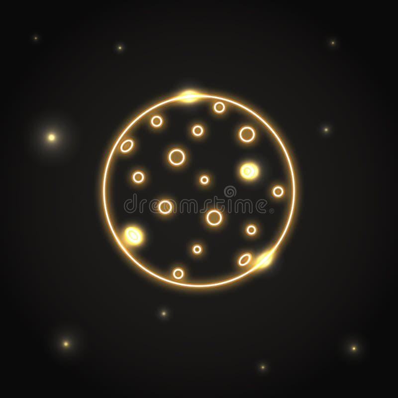 NeonplanetMercury symbol i den tunna linjen stil stock illustrationer