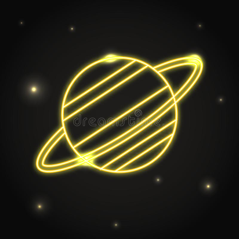 NeonplanetSaturn symbol i den tunna linjen stil royaltyfri illustrationer