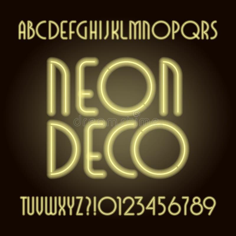 Neonröhreart- decoAlphabetguß Neonfarbbuchstaben und -zahlen vektor abbildung