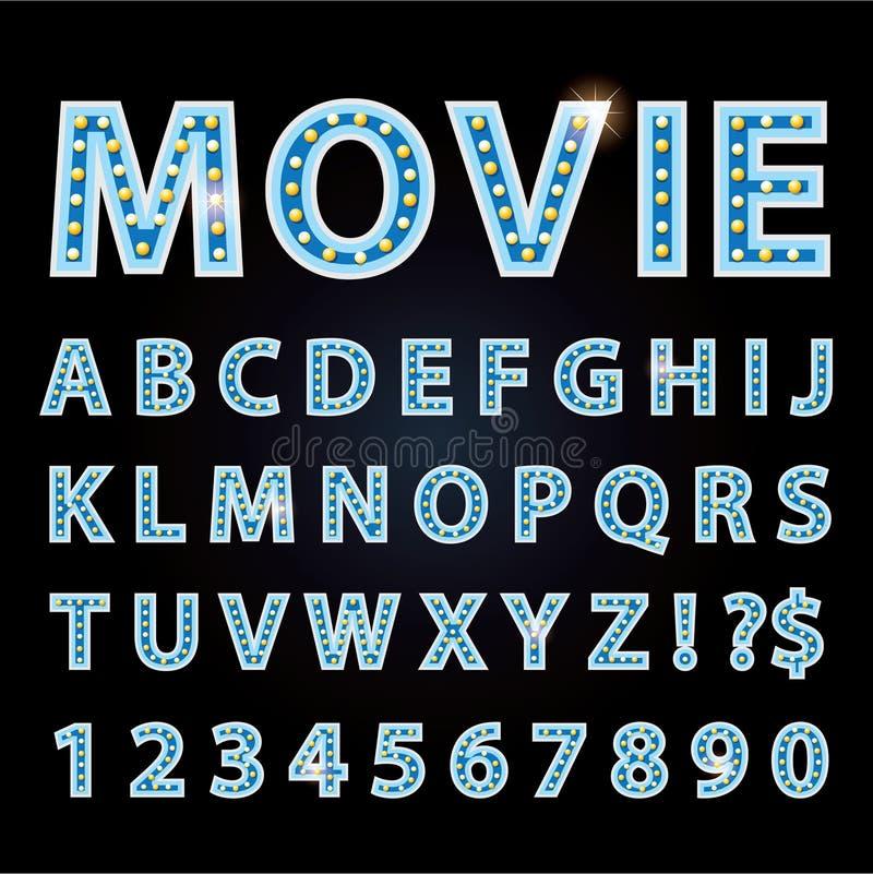 Neonröhrebuchstabegussshowkino oder -theater des Vektors blaues stock abbildung