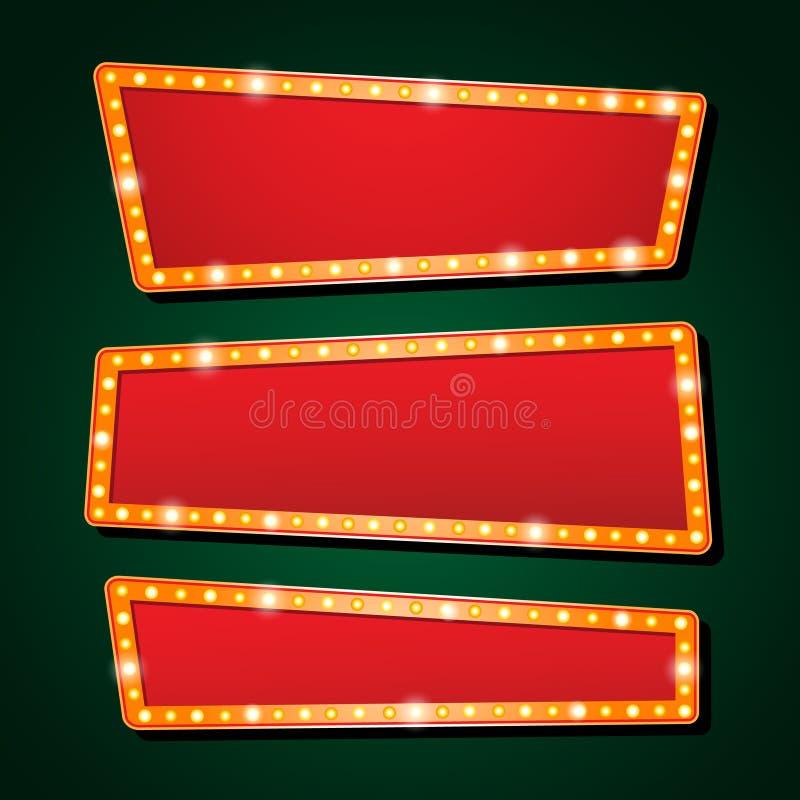 Neonröhrebuchstabegussshowkino oder -theater des Vektors orange stock abbildung