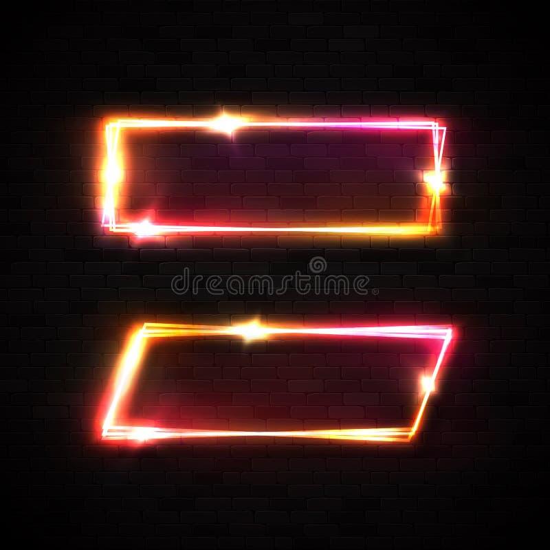 Neonrahmen auf schwarzer Backsteinmauer Festzeltzeichen stock abbildung