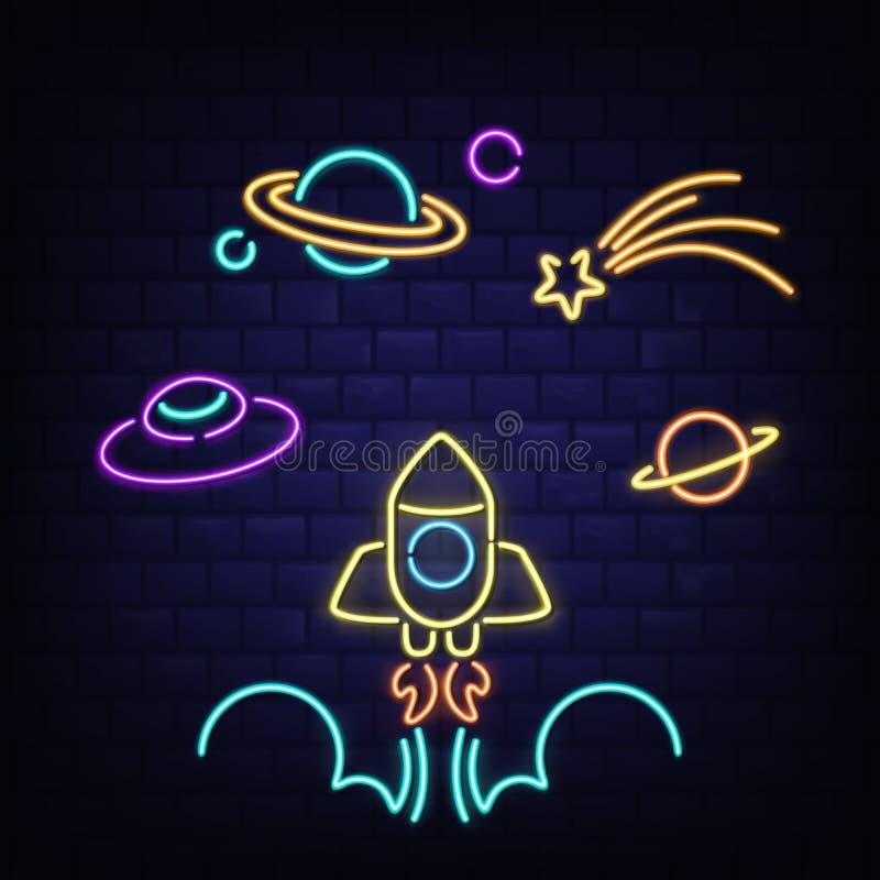 Neonraket, ufo, Saturn-planeet en komeetpictogrammen royalty-vrije illustratie
