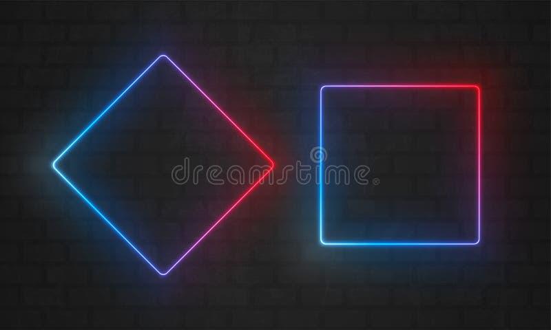 Neonramar Vektorlinje ljusa kulor triangel och rektangelfyrkant, neonramgränser vektor illustrationer