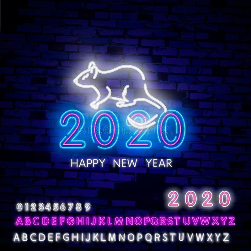 2020 Neonrat en twee duizend twintig neonteken Aantallen van staart op bakstenen muurachtergrond die worden gevormd Vectorillustr stock illustratie
