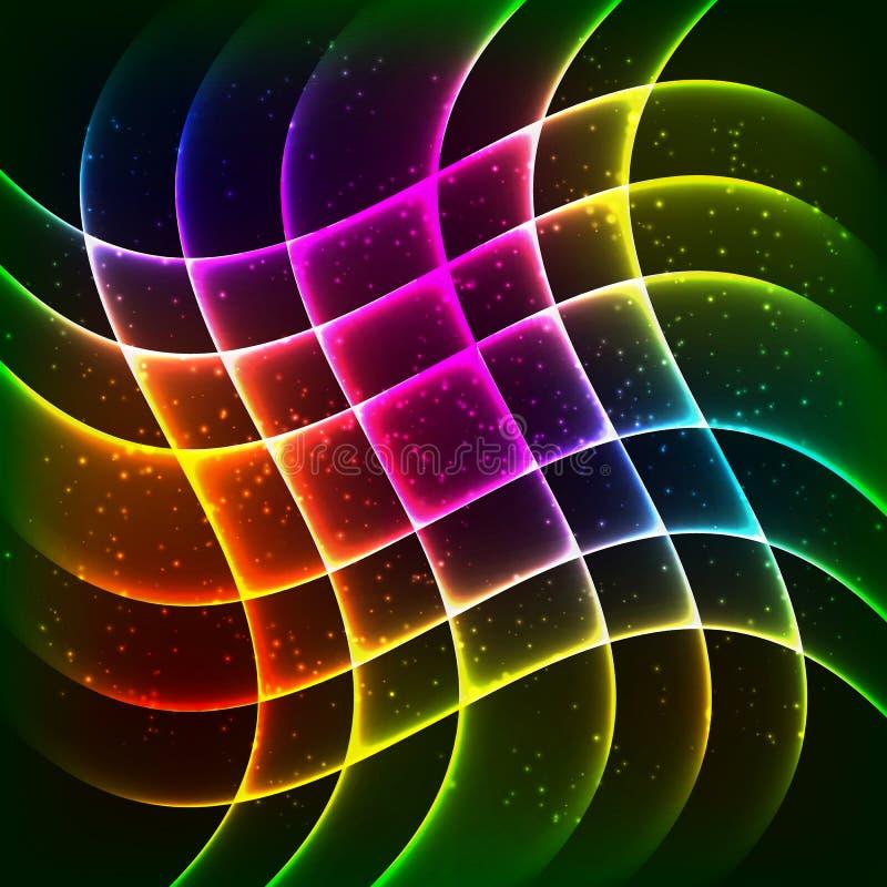 Neonregenbogenwellenvektorhintergrund vektor abbildung