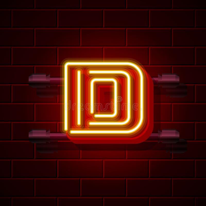 Neonschild des stadtguss-Buchstaben D Auch im corel abgehobenen Betrag vektor abbildung